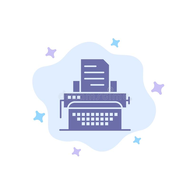 Typewriter, Typing, Document, Publish Blue Icon on Abstract Cloud Background stock illustration