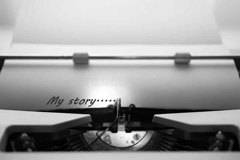 Typewriter typing the words `My Story...` stock images