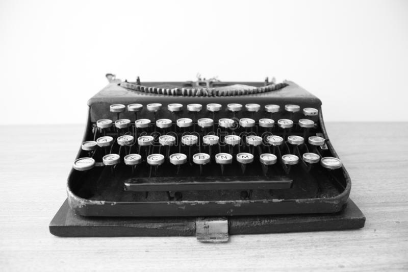 Typewriter in black n white. Typewriter used on the 50`s and part of my collection of retro stuff stock images