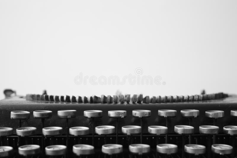 Typewriter in black n white. Typewriter used on the 50`s and part of my collection of retro stuff royalty free stock photos