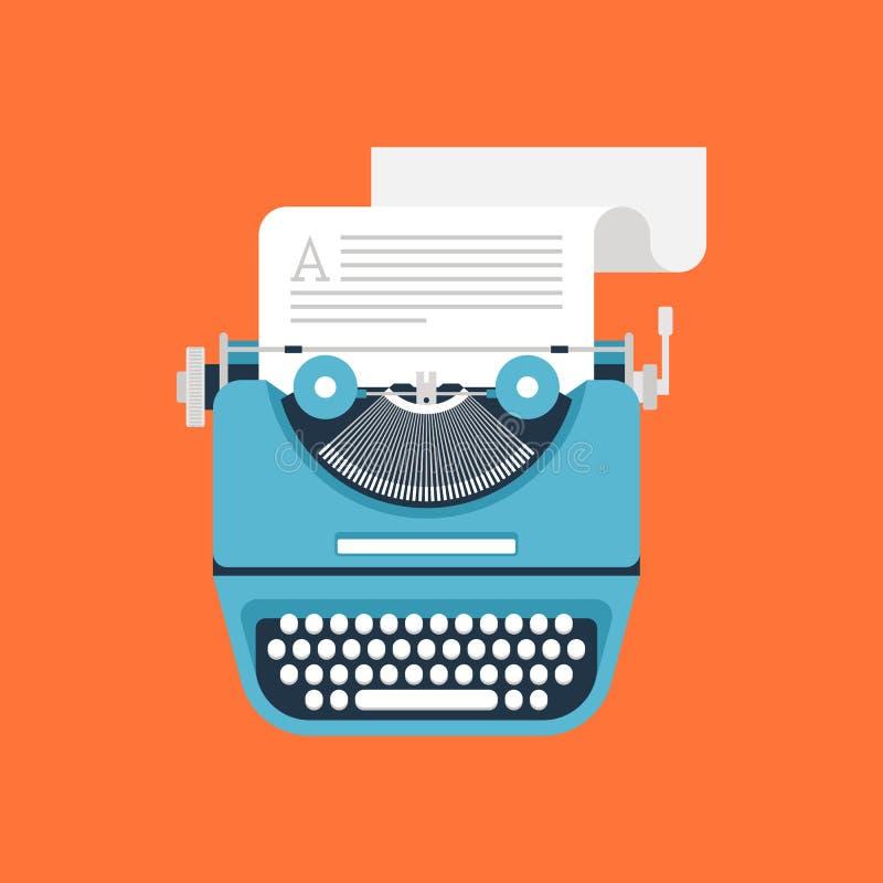 Typewriter. Vector illustration of flat vintage typewriter isolated on orange background royalty free illustration