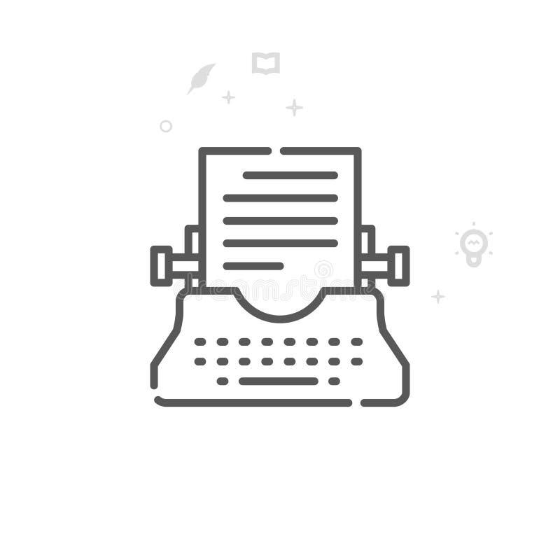Typewriter Vector Line Icon, Symbol, Pictogram, Sign. Light Abstract Geometric Background. Editable Stroke vector illustration