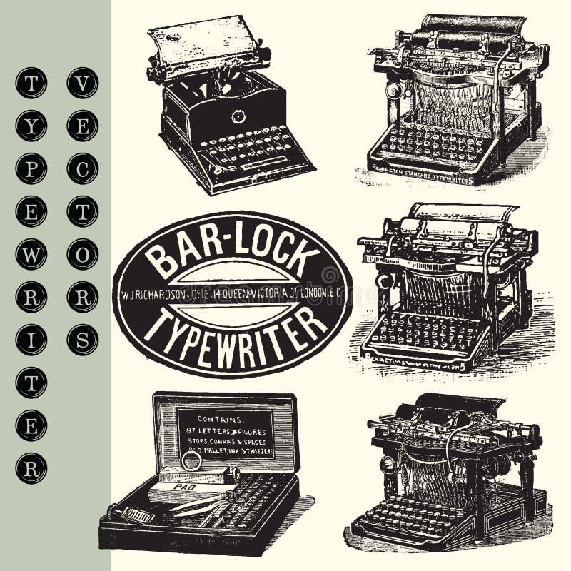 Typewriter Vectors. Set of 6 vintage typewriter pen and ink vector illustrations stock illustration