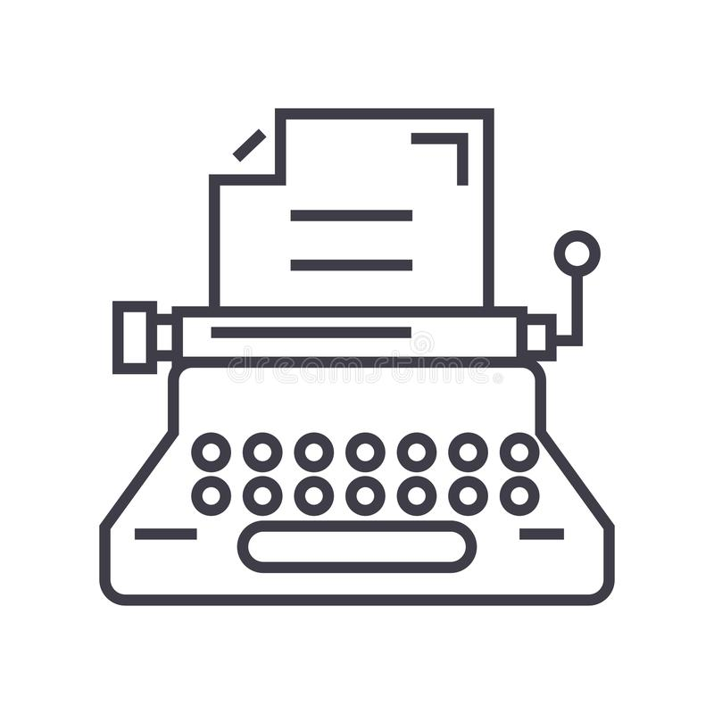 Typewriter, writer, writing, copywriting vector line icon, sign, illustration on background, editable strokes royalty free illustration