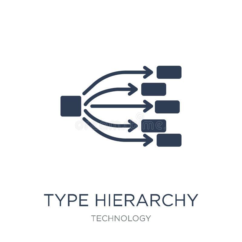Typhierarkisymbol Moderiktig plan symbol för vektortyphierarki på w royaltyfri illustrationer