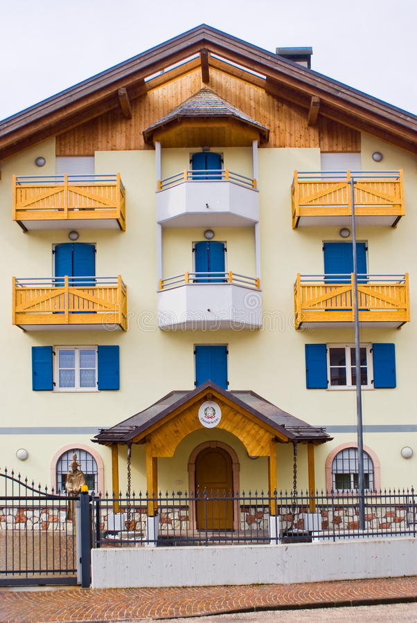 Typical alpine police barracks, Italy. Typical police barracks in an alpine village, Italy royalty free stock photos