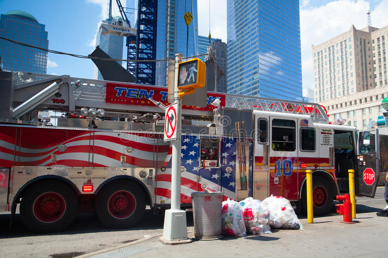 Typical american fire truck in Manhattan next the Ground Zero, stock photography