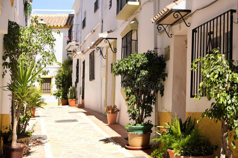 Typical Andalucia Spain old village whitewashed houses town street royalty free stock photos