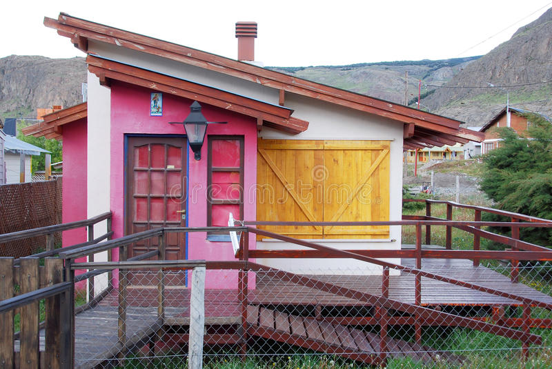 Typical Andes home in El Chalten stock images