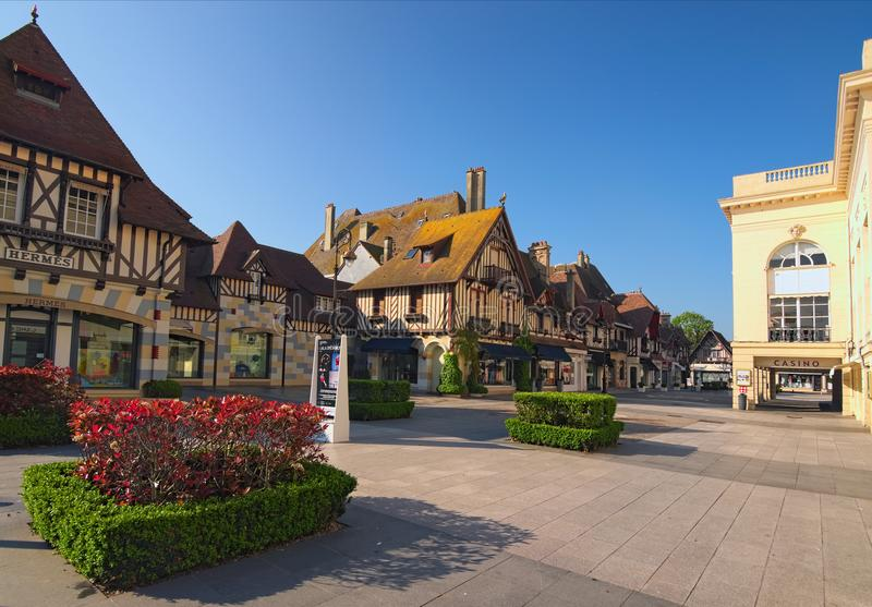 Typical architectural building in Deauville, Calvados department of Normandy, France. DEAUVILLE, FRANCE-MAY 05,2018: Typical architectural building in Deauville stock photography