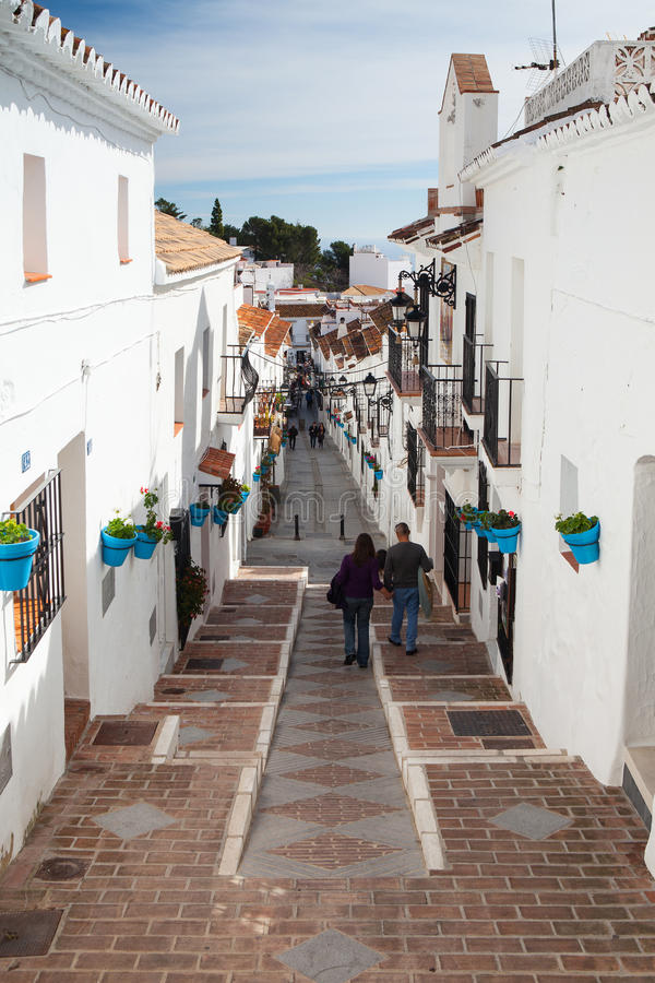 Typical architecture in narrow streets in Mijas royalty free stock photo