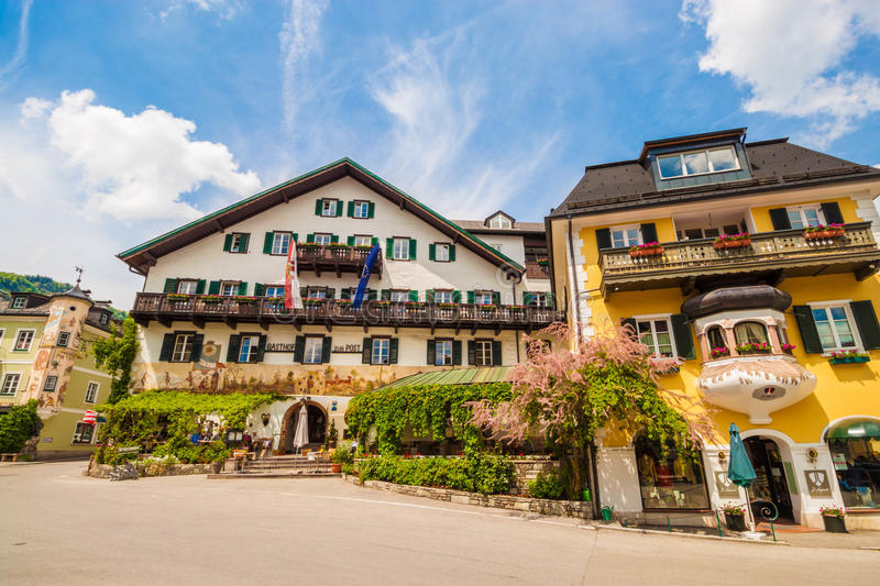 Typical austrian buildings on the main square of austrian village St.Gilgen royalty free stock photography