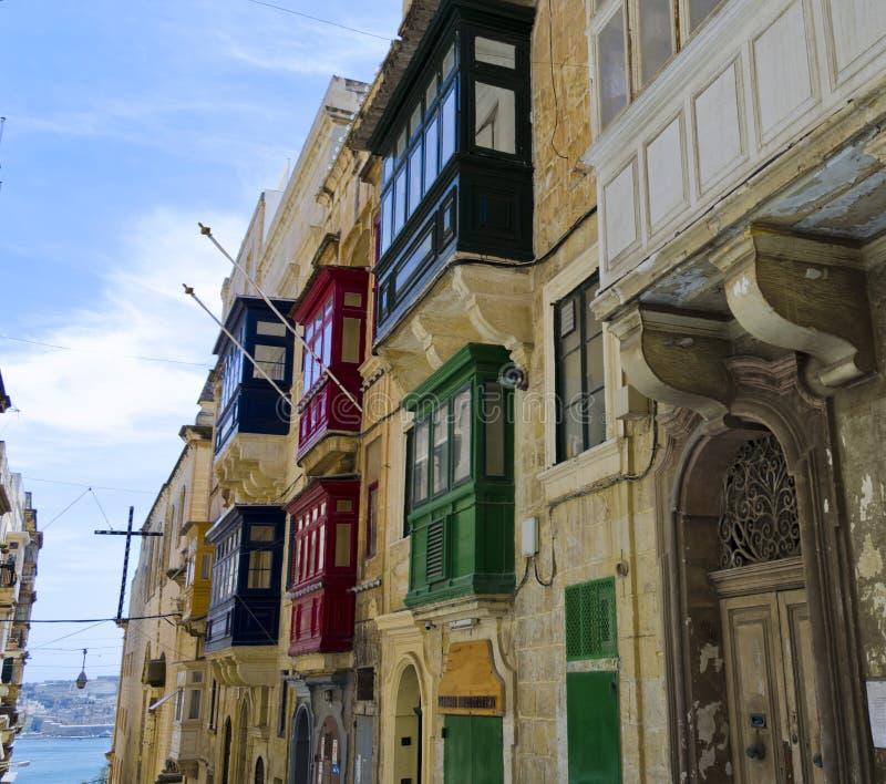 Typical balconies of Valletta houses - Malta stock image