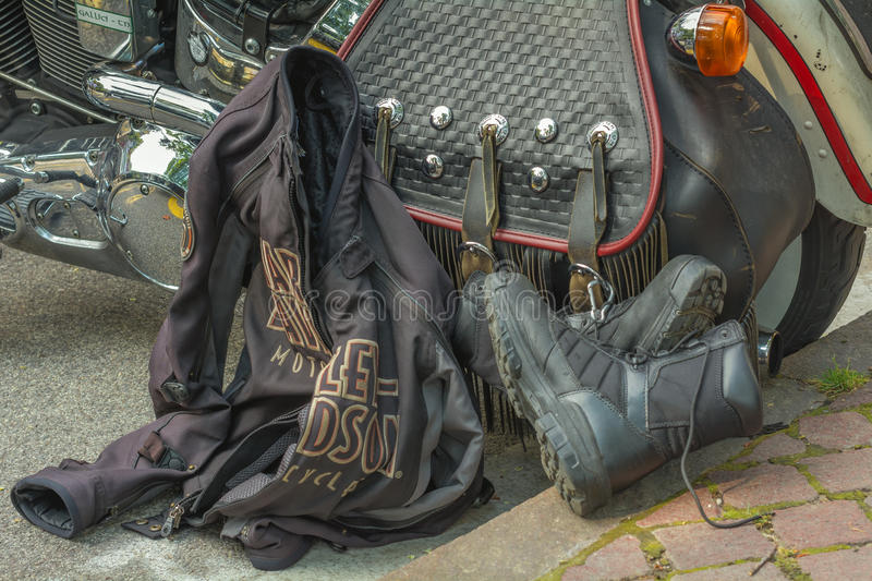 A typical biker leather bag. Motorbike accessories. Vintage effect royalty free stock images