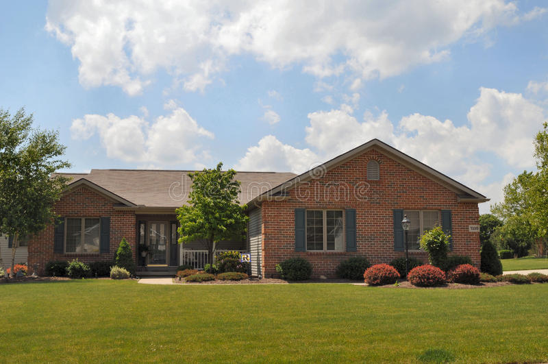 Typical brick ranch style home stock photo