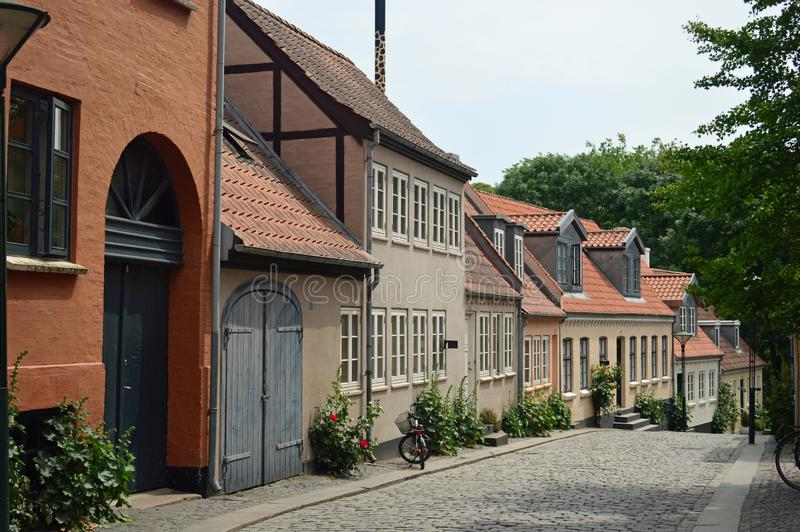 Typical Brightly coloured 17th century danish town houses. In Odense denmarks third largest city in South denmark on the island of funen or fyn royalty free stock photo