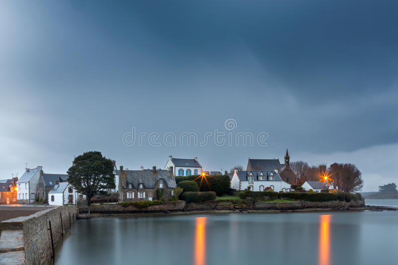 Typical brittany village on an island, Brittany, France stock photo