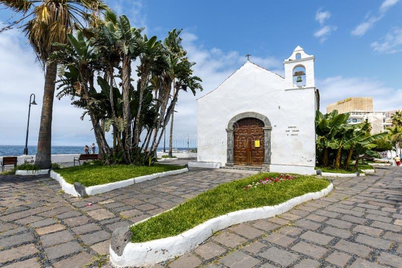 Typical canarian church ermita de San Telmo in Puerto de la Cruz, Tenerife, Canarias, Spain. Puerto de la Cruz, Spain - August 16, 2015: Typical canarian church stock images