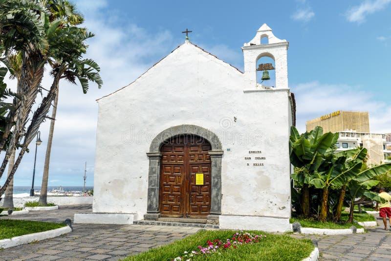 Typical canarian church ermita de San Telmo in Puerto de la Cruz, Tenerife, Canarias, Spain. Puerto de la Cruz, Spain - August 16, 2015: Typical canarian church royalty free stock photo