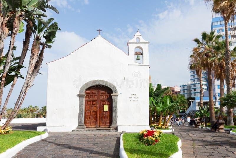 Typical canarian church in Puerto de la Cruz. Typical canarian church ermita de San Telmo in Puerto de la Cruz, Tenerife, Canarias, Spain royalty free stock photos