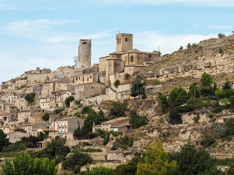 Typical Catalan village Guimera on a hillside royalty free stock images