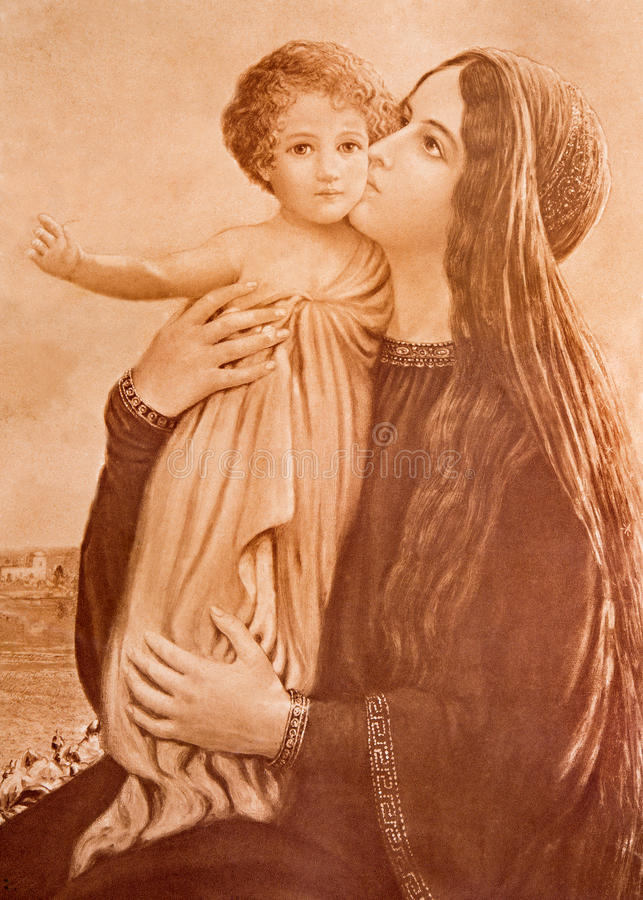 Typical catholic image of Madonna with the child (in my own home) printed in Germany. SEBECHLEBY, SLOVAKIA - JANUARY 3, 2015: Typical catholic image of Madonna royalty free stock photo
