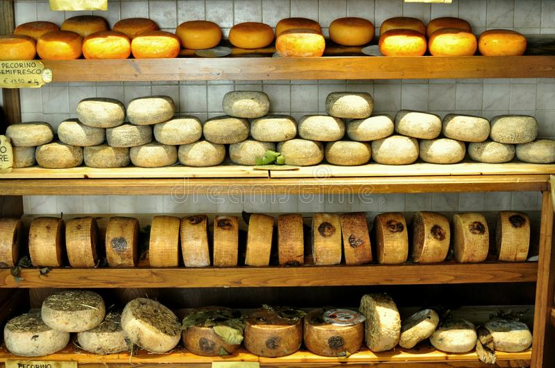 Typical cheese market in Pienza , Italy stock images