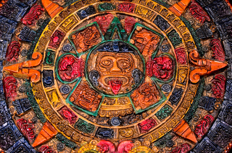 Typical Colored Clay Maya Calendar stock images