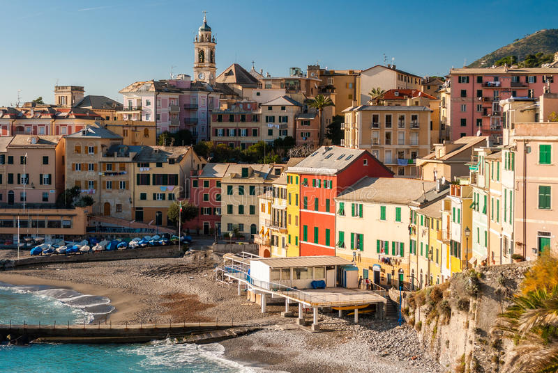 Typical colored houses in the seafront of Bogliasco, near Genoa stock image