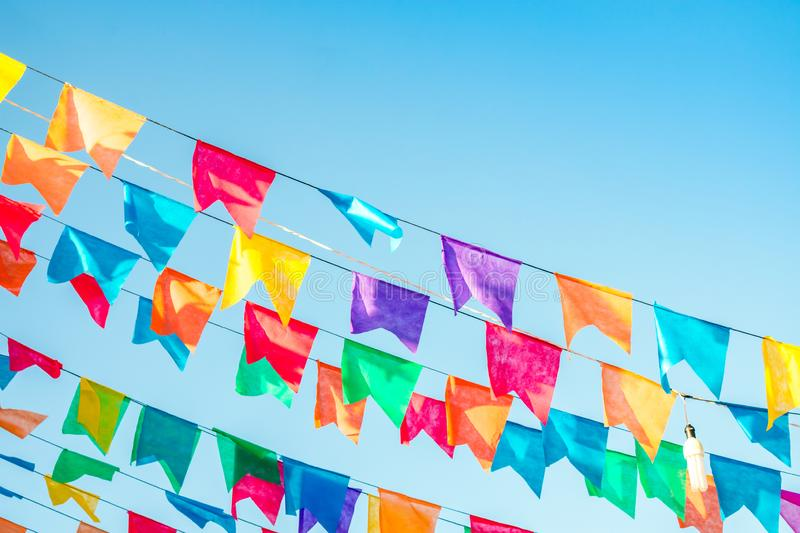 Colorful flags used for decoration at the June Festivals aka festas de Sao Joao, popular festivities in Brazil. Typical colorful flags used for decoration at the royalty free stock image