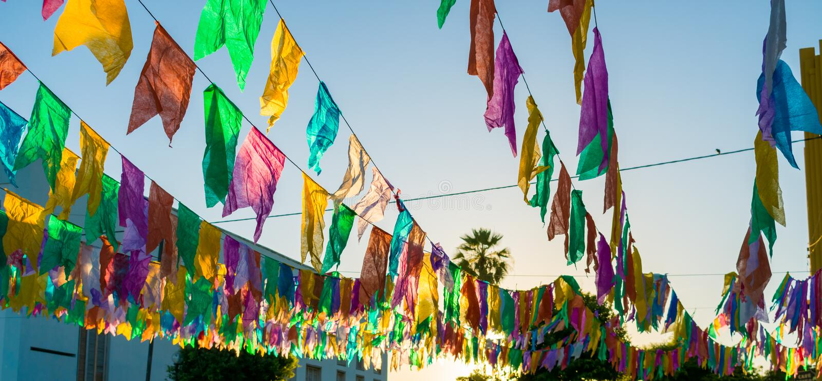Colorful flags used for decoration at the June Festivals aka festas de Sao Joao, popular festivities in Brazil. Typical colorful flags used for decoration at the royalty free stock images