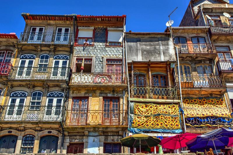 Typical and colorful houses of Ribeira royalty free stock image