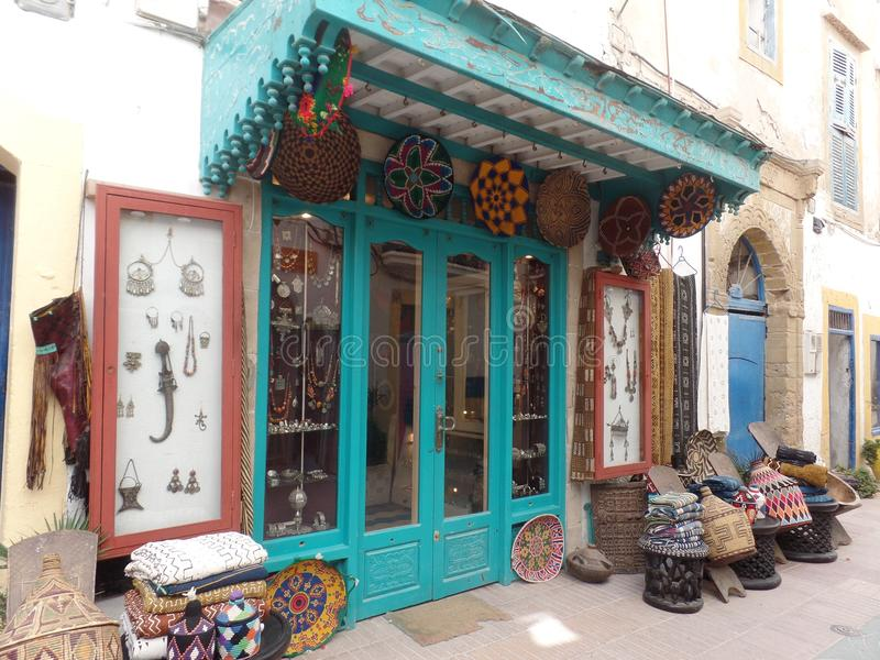 Typical gift shop in Essaouira, Morocco royalty free stock image