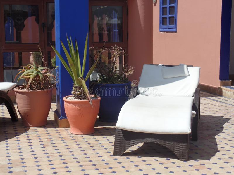 Typical roof terrace in Essaouira, Morocco royalty free stock images