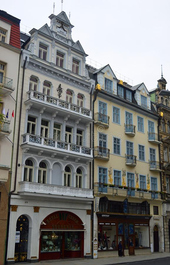 Typical colourful terrace building in Karlovy Vary Czech Republic. Bohemian spa town , also known as Carlsbad or Karlsbad royalty free stock images
