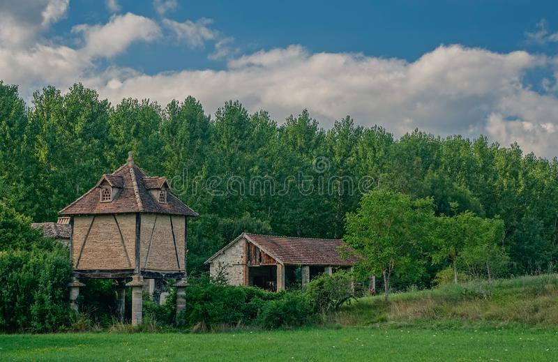 Typical Columbier in France. Albil, Midi Pyrenees, France - July 23, 2017: View of a typical pigeon house in southern France, Columbier, raised from the ground stock photo