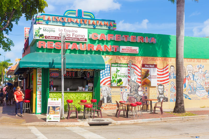 Typical cuban restaurant at 8th Street in Miami. Typical cuban restaurant at SW 8th Street, a focal point of the cuban community in Miami royalty free stock image