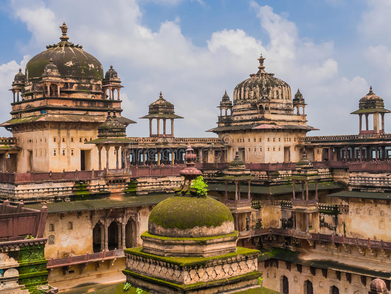 Typical domes of Orchha Palace, India. Typical domes of Jahangir Mahal, the Orchha Palace, India stock images