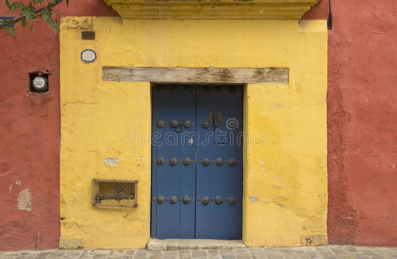 A typical door downtown Oaxaca City royalty free stock photo