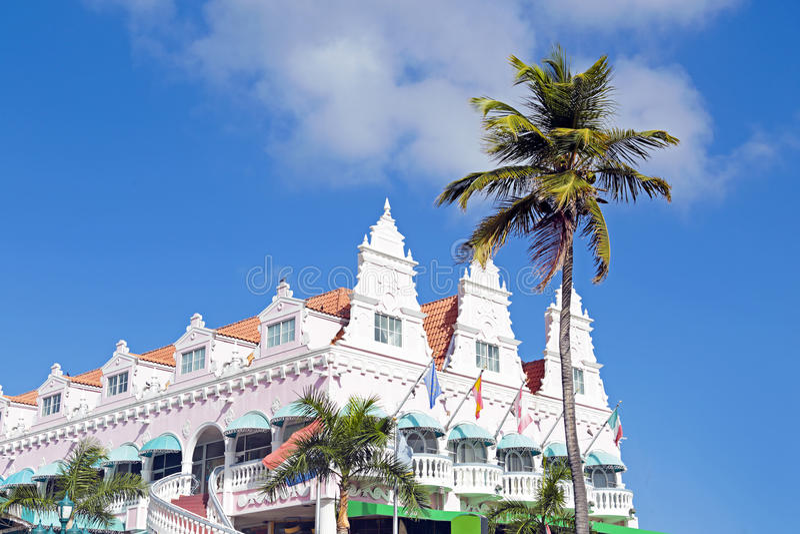 Typical dutch design architecture in Oranjestad Aruba royalty free stock photography