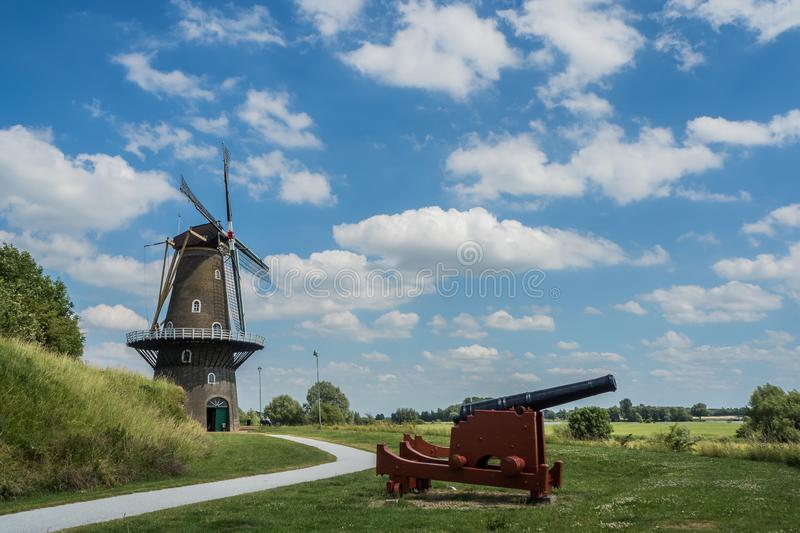 Typical Dutch windmill De Hoop in Gorinchem, Netherlands royalty free stock images
