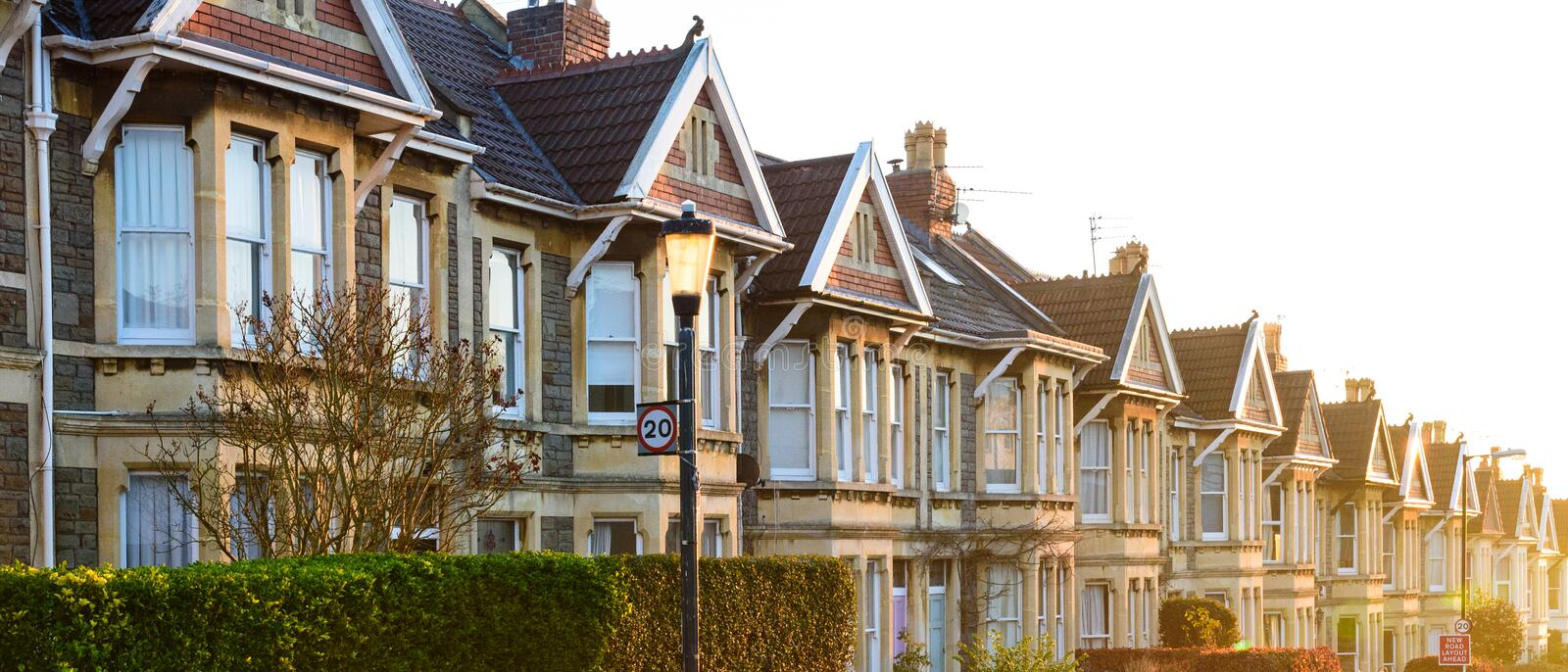 Typical English terraced houses in Bristol at sunrise royalty free stock photos