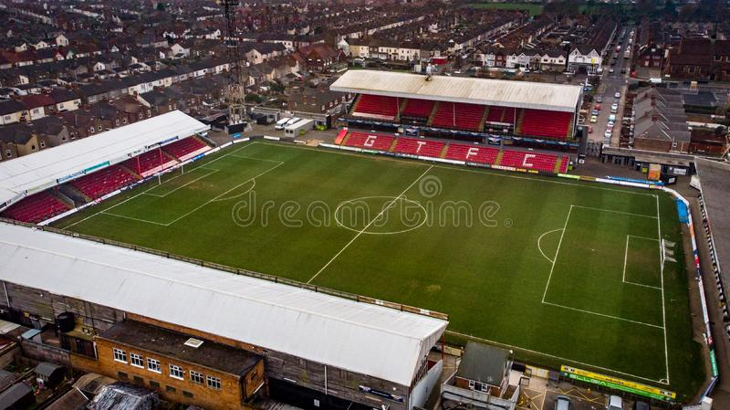 Grimsby, United Kingdom - March 1, 2019: Aerial view of the Grimsby Town Football Club Stadium named Blundell Park. Typical example of a lower league stock photography