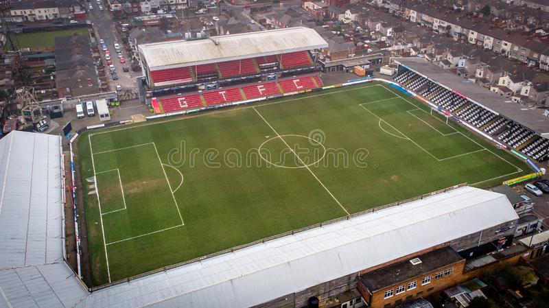 Grimsby, United Kingdom - March 1, 2019: Aerial view of the Grimsby Town Football Club Stadium named Blundell Park. Typical example of a lower league royalty free stock photography