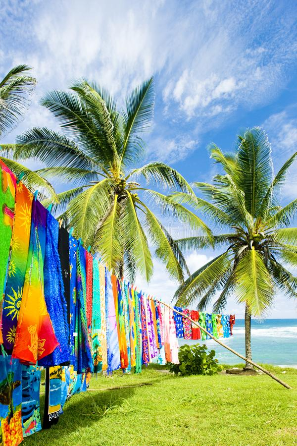 Typical fabrics, Bathsheba, East coast of Barbados, Caribbean. Outdoor, outdoors, outside, exterior, exteriors, america, central, greater, antilles, lesser royalty free stock photo