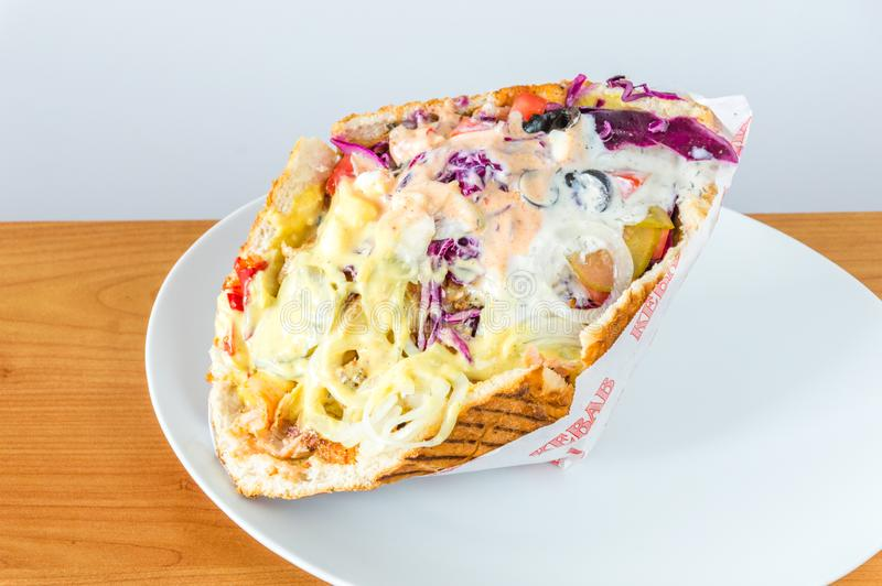Typical fast food kebab in Poland stock photos