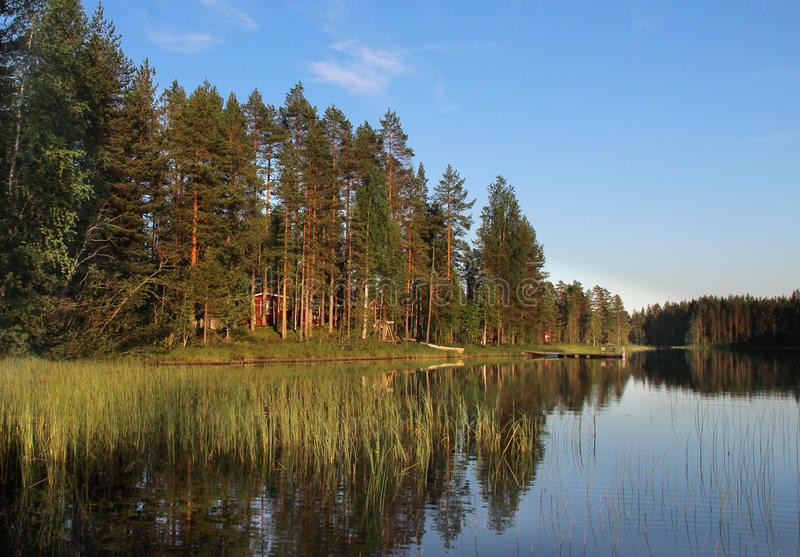 Download Typical Finnish House In The Woods Near Lake Stock Image