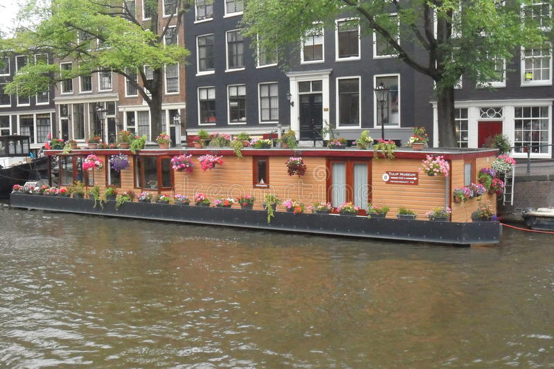 Download Typical Floating House In Amsterdam In The Netherlands Stock Photo    Image Of Floating,