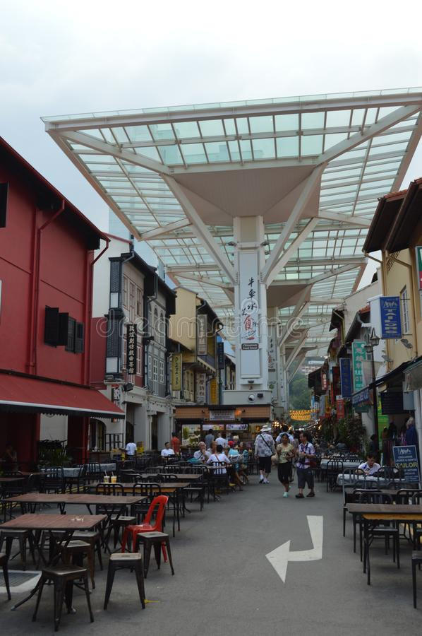 Typical food court in chinatown near temple street Singapore stock photography