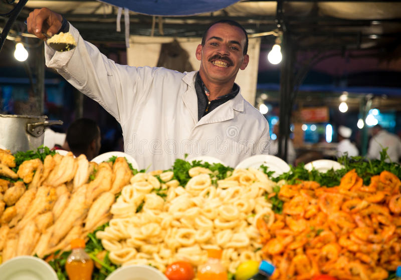 Typical food stand in Marrakech royalty free stock photography
